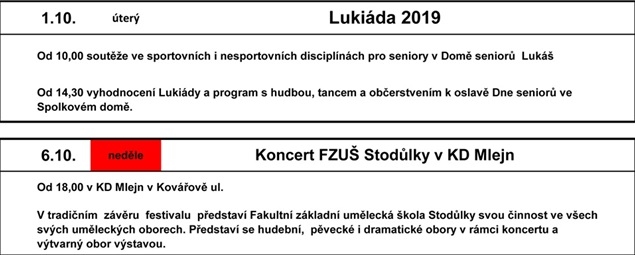 Kalendář festivalu 2019